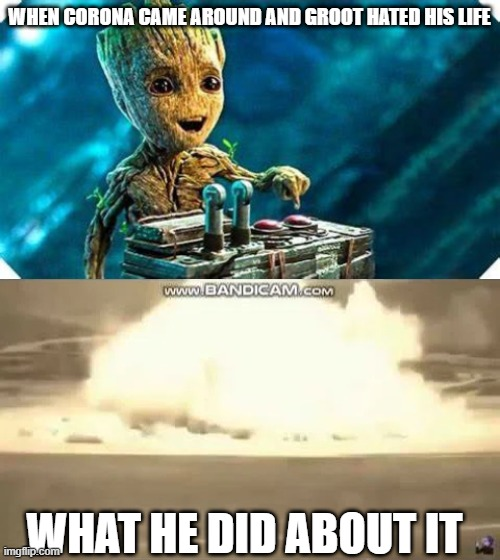Let covid be over |  WHEN CORONA CAME AROUND AND GROOT HATED HIS LIFE; WHAT HE DID ABOUT IT | image tagged in baby groot | made w/ Imgflip meme maker