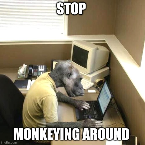Monkey Business Meme |  STOP; MONKEYING AROUND | image tagged in memes,monkey business | made w/ Imgflip meme maker