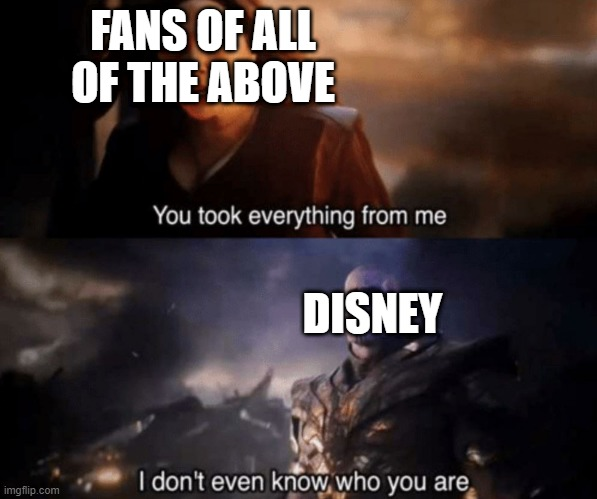 You took everything from me - I don't even know who you are | FANS OF ALL OF THE ABOVE DISNEY | image tagged in you took everything from me - i don't even know who you are | made w/ Imgflip meme maker