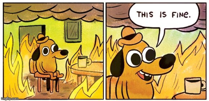 image tagged in memes,this is fine | made w/ Imgflip meme maker