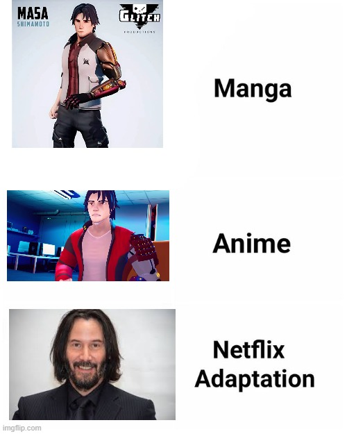 Masa Shimamoto = Keanu Reeves | image tagged in netflix adaptation,meta runner,keanu reeves | made w/ Imgflip meme maker