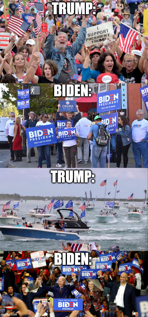 Which group is more patriotic? |  TRUMP:; BIDEN:; TRUMP:; BIDEN: | image tagged in donald trump,election 2020,joe biden,republicans,democrats,america | made w/ Imgflip meme maker