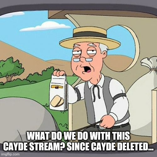 Pepperidge Farm Remembers |  WHAT DO WE DO WITH THIS CAYDE STREAM? SINCE CAYDE DELETED... | image tagged in memes,pepperidge farm remembers | made w/ Imgflip meme maker