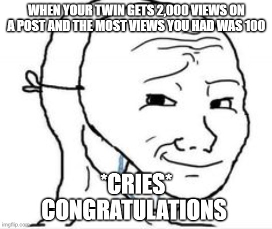 *cries* I'm not crying, you're crying |  WHEN YOUR TWIN GETS 2,000 VIEWS ON A POST AND THE MOST VIEWS YOU HAD WAS 100; *CRIES* CONGRATULATIONS | image tagged in crying happy mask | made w/ Imgflip meme maker