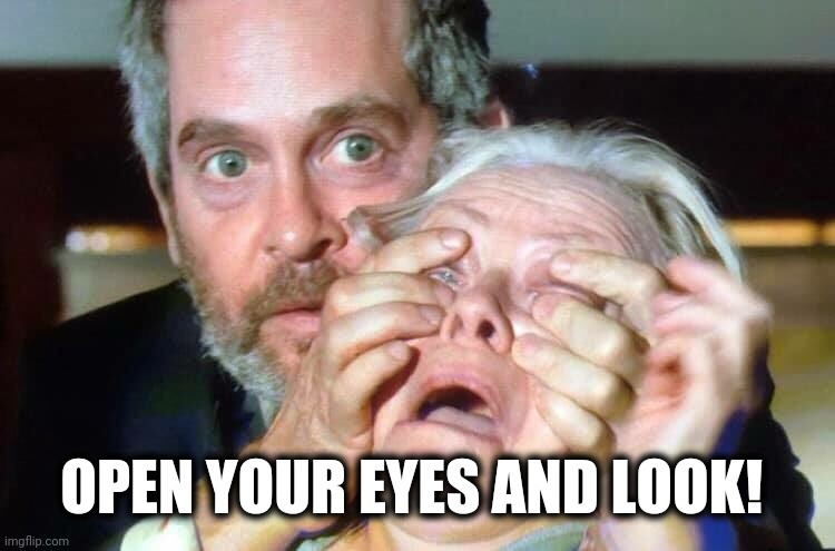 OPEN YOUR EYES | OPEN YOUR EYES AND LOOK! | image tagged in open your eyes | made w/ Imgflip meme maker