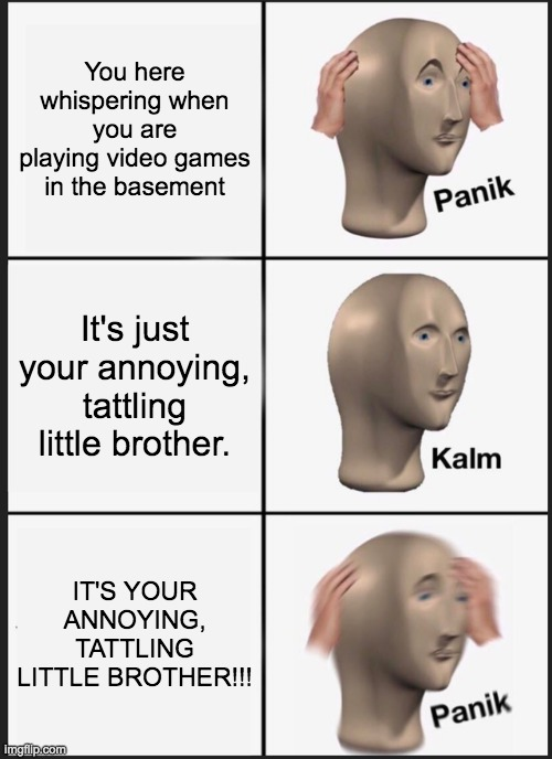 *Franticly runs up the stairs to grab the phone out of his hands* |  You here whispering when you are playing video games in the basement; It's just your annoying, tattling little brother. IT'S YOUR ANNOYING, TATTLING LITTLE BROTHER!!! | image tagged in memes,panik kalm panik,little brother | made w/ Imgflip meme maker