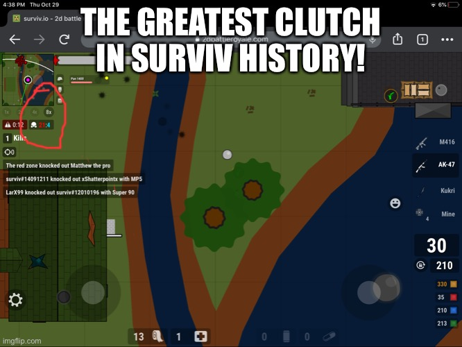 Wow |  THE GREATEST CLUTCH IN SURVIV HISTORY! | image tagged in wow | made w/ Imgflip meme maker