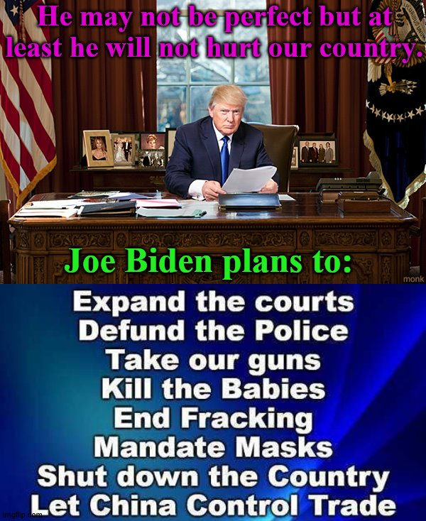 If you can not vote for him then vote third party. |  He may not be perfect but at least he will not hurt our country. Joe Biden plans to: | image tagged in president trump | made w/ Imgflip meme maker