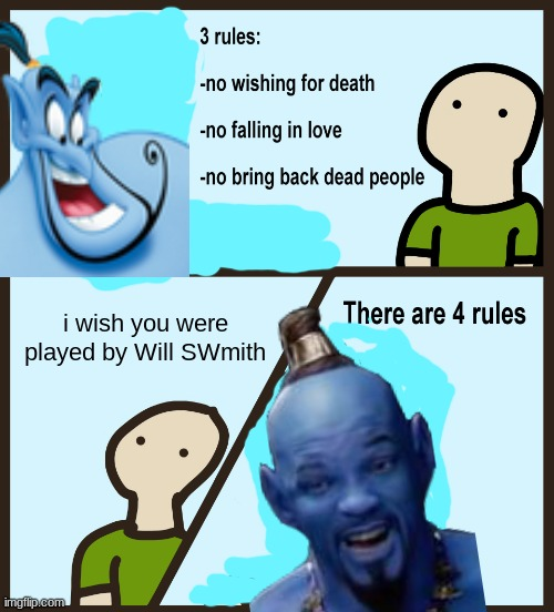 i miss 2019 |  i wish you were played by Will SWmith | image tagged in genie rules meme,aladdin,robin williams,will smith,funny memes,disney | made w/ Imgflip meme maker