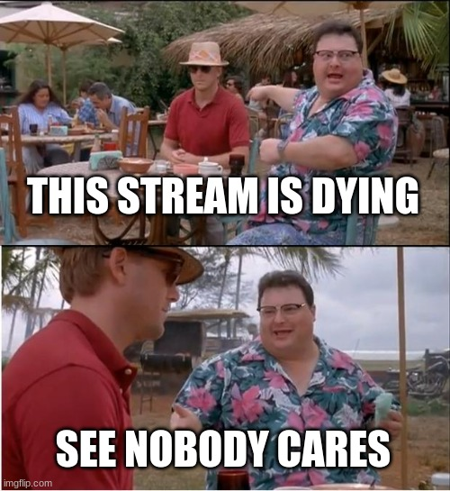 See Nobody Cares |  THIS STREAM IS DYING; SEE NOBODY CARES | image tagged in memes,see nobody cares | made w/ Imgflip meme maker