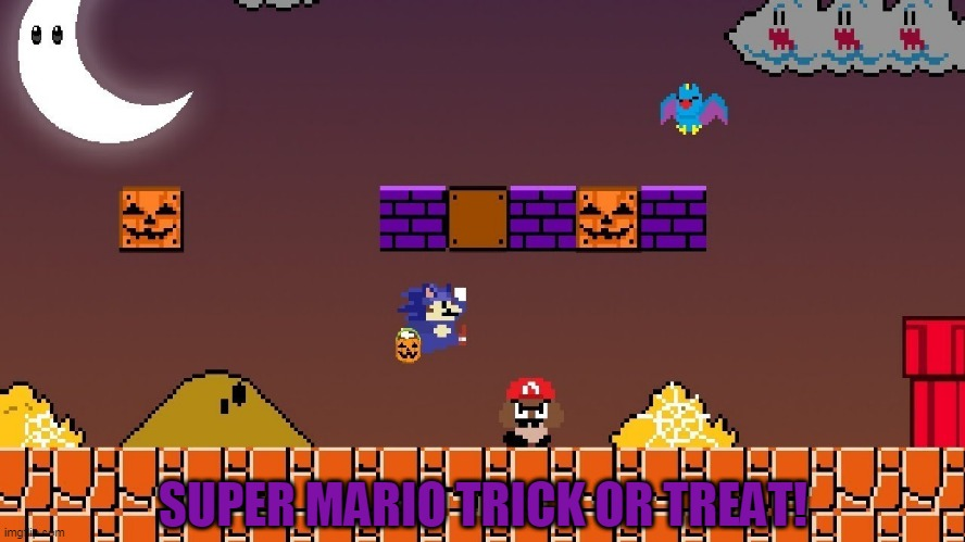 MARIO GOES AS SONIC TO GET CANDY FASTER |  SUPER MARIO TRICK OR TREAT! | image tagged in super mario bros,sonic the hedgehog,trick or treat,halloween,spooktober | made w/ Imgflip meme maker