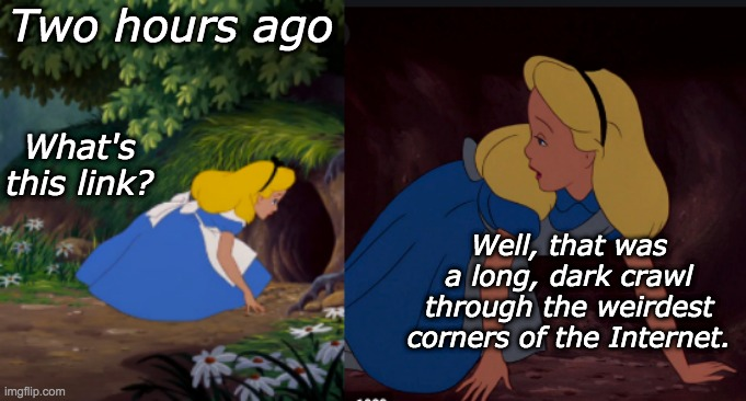 Welp, now I know those sites exist |  Two hours ago; What's this link? Well, that was a long, dark crawl through the weirdest corners of the Internet. | image tagged in internet,alice,wonderland | made w/ Imgflip meme maker