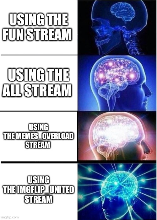 Expanding Brain |  USING THE FUN STREAM; USING THE ALL STREAM; USING THE MEMES_OVERLOAD STREAM; USING THE IMGFLIP_UNITED STREAM | image tagged in memes,expanding brain | made w/ Imgflip meme maker