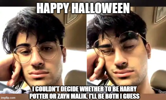 Halloween Problems |  HAPPY HALLOWEEN; I COULDN'T DECIDE WHETHER TO BE HARRY POTTER OR ZAYN MALIK. I'LL BE BOTH I GUESS | image tagged in harry potter,halloween,costume,zayn malik | made w/ Imgflip meme maker