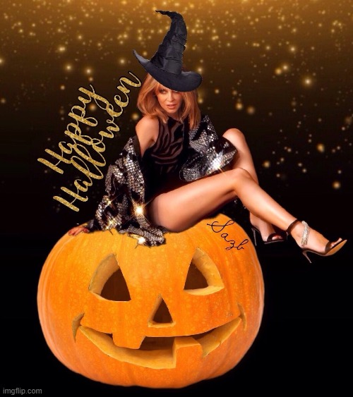 [we just havin' fun] | image tagged in kylie happy halloween,happy halloween,halloween,i love halloween,witch,pumpkin | made w/ Imgflip meme maker