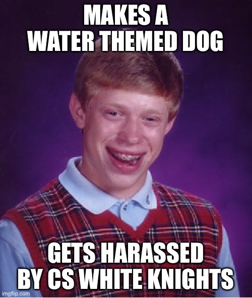 Bad Luck Brian |  MAKES A WATER THEMED DOG; GETS HARASSED BY CS WHITE KNIGHTS | image tagged in memes,bad luck brian | made w/ Imgflip meme maker