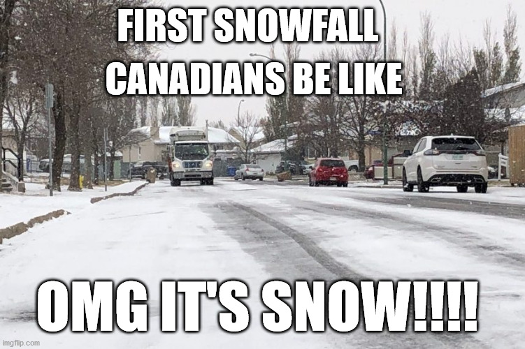 Winter |  FIRST SNOWFALL; CANADIANS BE LIKE; OMG IT'S SNOW!!!! | image tagged in snow,snowfall,canada,driving,orillia,social more media | made w/ Imgflip meme maker