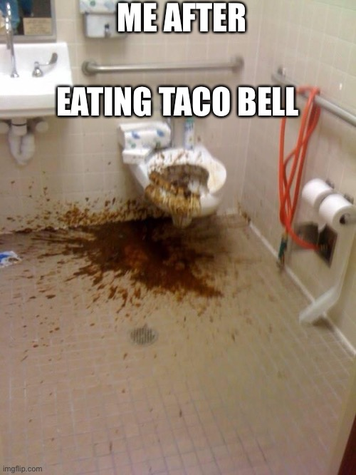 Girls poop too |  ME AFTER; EATING TACO BELL | image tagged in girls poop too | made w/ Imgflip meme maker