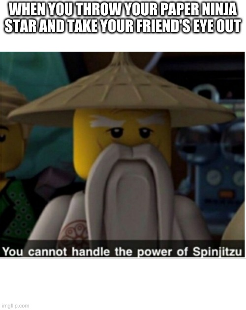 The power... |  WHEN YOU THROW YOUR PAPER NINJA STAR AND TAKE YOUR FRIEND'S EYE OUT | image tagged in you cannot handle the power of spinjitzu | made w/ Imgflip meme maker