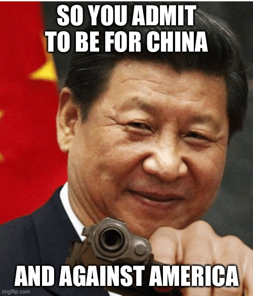 Xi Jinping | SO YOU ADMIT TO BE FOR CHINA AND AGAINST AMERICA | image tagged in xi jinping | made w/ Imgflip meme maker