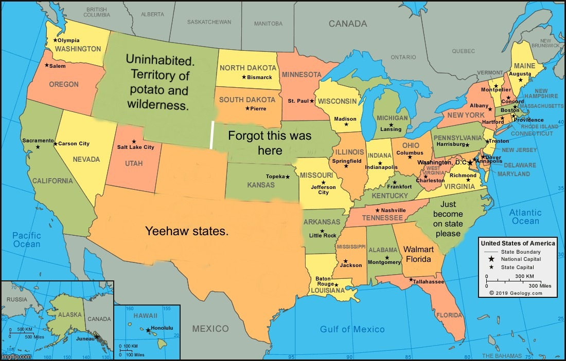 The united states of america simplified. | image tagged in united states,america,merica,e,arethesetagsgettingannoyingithinkso,okiwillstop | made w/ Imgflip meme maker