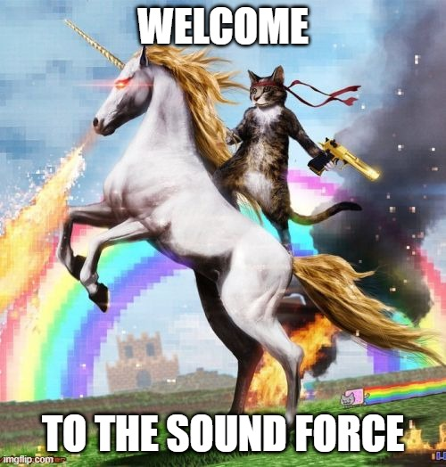 welcome to the sound force |  WELCOME; TO THE SOUND FORCE | image tagged in memes,welcome to the internets,video games,game audio,sound design | made w/ Imgflip meme maker