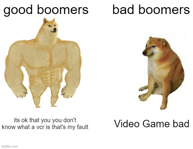 Buff Doge vs. Cheems |  good boomers; bad boomers; its ok that you you don't know what a vcr is that's my fault; Video Game bad | image tagged in memes,buff doge vs cheems | made w/ Imgflip meme maker