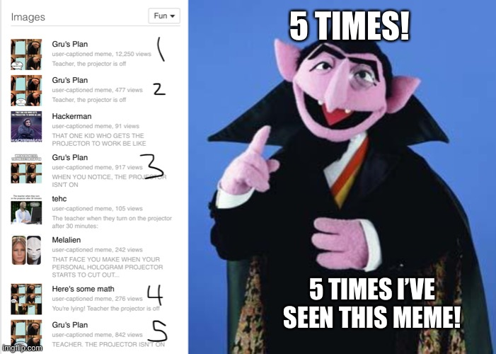 5 TIMES! 5 TIMES I'VE SEEN THIS MEME! | image tagged in the count | made w/ Imgflip meme maker