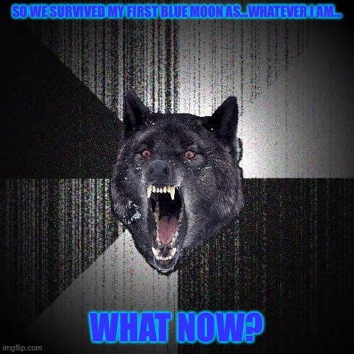 so...i did it...what now? |  SO WE SURVIVED MY FIRST BLUE MOON AS...WHATEVER I AM... WHAT NOW? | image tagged in memes,insanity wolf,werewolf | made w/ Imgflip meme maker
