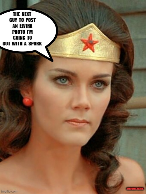 Lynda vs Cassandra |  THE  NEXT  GUY  TO  POST  AN  ELVIRA  PHOTO  I'M  GOING  TO GUT  WITH  A  SPORK; AARDVARK RATNIK | image tagged in wonder woman,elvira,sexy women,tv show,funny memes | made w/ Imgflip meme maker