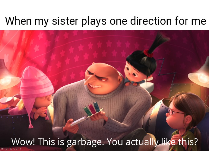 ok |  When my sister plays one direction for me | image tagged in wow this is garbage you actually like this | made w/ Imgflip meme maker