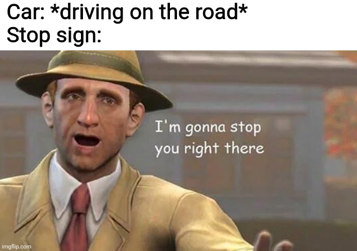I'm gonna stop you right there |  Car: *driving on the road* Stop sign: | image tagged in i'm gonna stop you right there,memes,funny,e | made w/ Imgflip meme maker