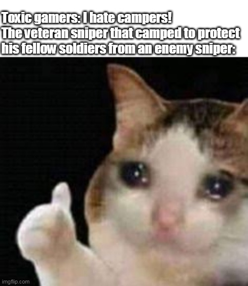 Approved crying cat |  Toxic gamers: I hate campers! The veteran sniper that camped to protect his fellow soldiers from an enemy sniper: | image tagged in approved crying cat | made w/ Imgflip meme maker