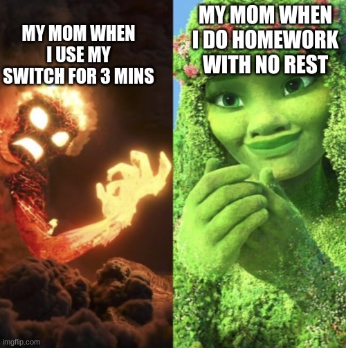 MY MOM WHEN I USE MY SWITCH FOR 3 MINS; MY MOM WHEN I DO HOMEWORK WITH NO REST | image tagged in te fiti | made w/ Imgflip meme maker