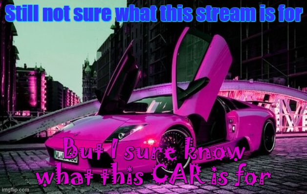 lol |  Still not sure what this stream is for; But I sure know what this CAR is for | image tagged in lol,car,cars,pink,purple,carz | made w/ Imgflip meme maker