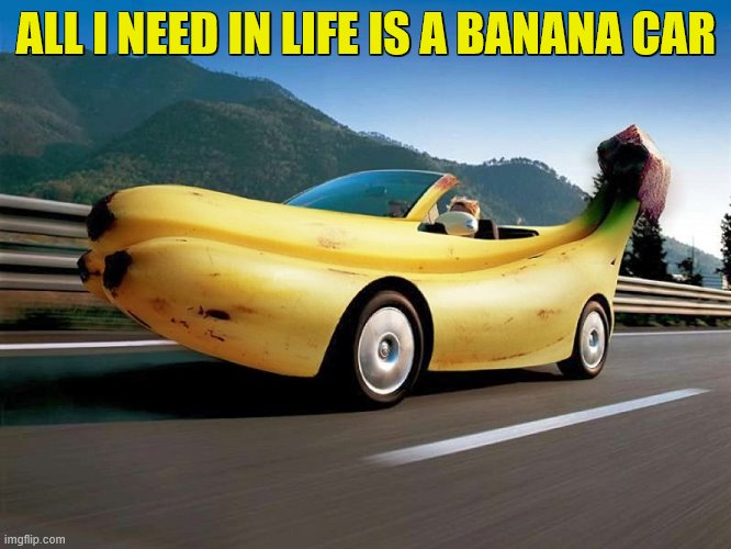 XDDDDDDDDDDDDDDDDDDDDDDDDD |  ALL I NEED IN LIFE IS A BANANA CAR | image tagged in car,banana,cars | made w/ Imgflip meme maker