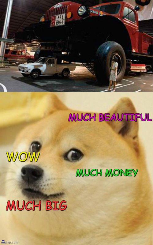 hahahahahaha the blue one is the most true one |  MUCH BEAUTIFUL; WOW; MUCH MONEY; MUCH BIG; MUCH SEXY TOO | image tagged in wow doge,car,truck,big,not like that,lol | made w/ Imgflip meme maker