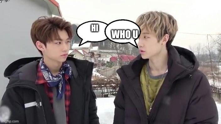 bang chan met a stranger |  WHO U; HI | image tagged in bang chan and felix being the aussie line | made w/ Imgflip meme maker