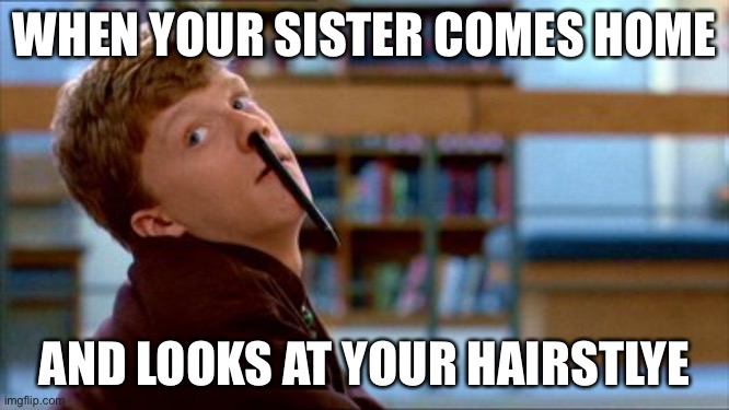 Ugly brian |  WHEN YOUR SISTER COMES HOME; AND LOOKS AT YOUR HAIRSTLYE | image tagged in memes,original bad luck brian,funny memes,funny | made w/ Imgflip meme maker