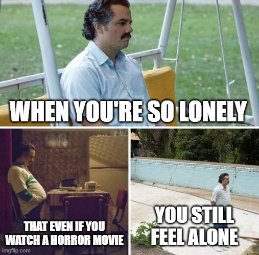 :( |  WHEN YOU'RE SO LONELY; THAT EVEN IF YOU WATCH A HORROR MOVIE; YOU STILL FEEL ALONE | image tagged in memes,sad pablo escobar,lonely | made w/ Imgflip meme maker