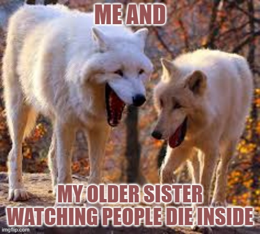 Dont die laughing |  ME AND; MY OLDER SISTER WATCHING PEOPLE DIE INSIDE | image tagged in wolf | made w/ Imgflip meme maker