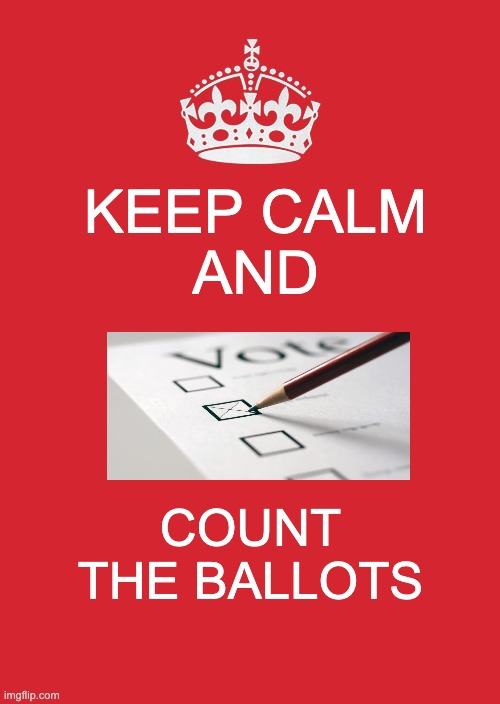 Keep Counting |  KEEP CALM AND; COUNT THE BALLOTS | image tagged in memes,keep calm and carry on red,election 2020 | made w/ Imgflip meme maker