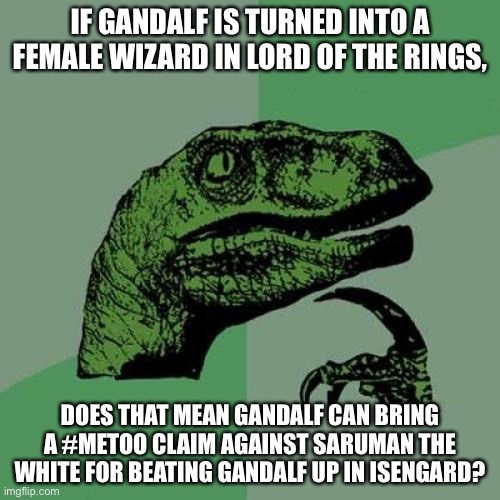Gandalf the Gender Fluid Wizard |  IF GANDALF IS TURNED INTO A FEMALE WIZARD IN LORD OF THE RINGS, DOES THAT MEAN GANDALF CAN BRING A #METOO CLAIM AGAINST SARUMAN THE WHITE FOR BEATING GANDALF UP IN ISENGARD? | image tagged in memes,philosoraptor,gandalf,lord of the rings,amazon,metoo | made w/ Imgflip meme maker