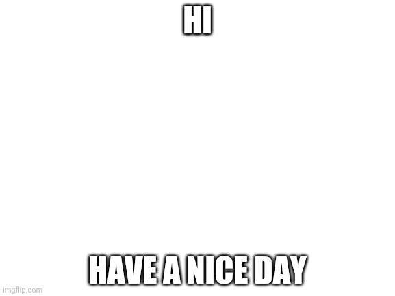 Hi |  HI; HAVE A NICE DAY | image tagged in blank white template,hi,have a nice day | made w/ Imgflip meme maker