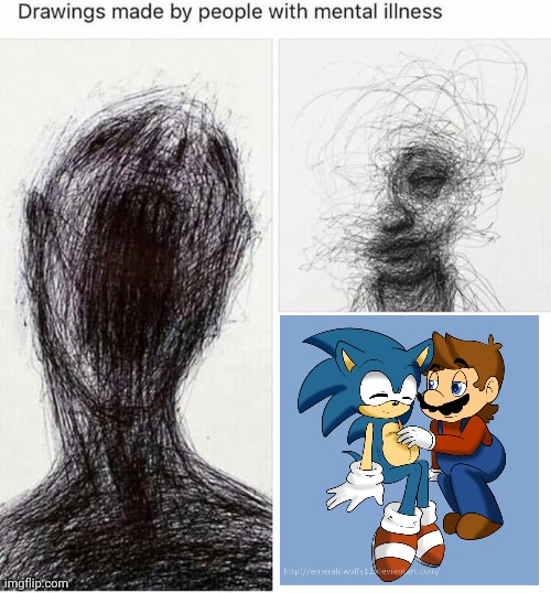 Who drew this? Where do they live? How much does a nuke cost? | image tagged in super mario,sonic the hedgehog,cringe worthy | made w/ Imgflip meme maker