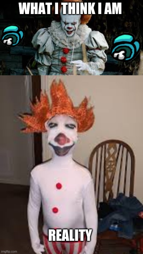 bad costume |  WHAT I THINK I AM; REALITY | image tagged in pennywise | made w/ Imgflip meme maker