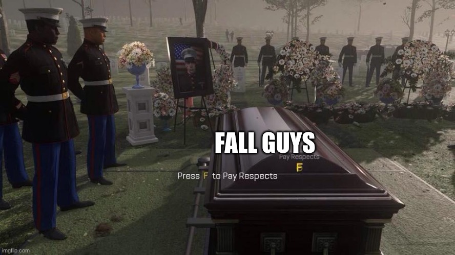 Can we get an F in the chat pls |  FALL GUYS | image tagged in press f to pay respects | made w/ Imgflip meme maker