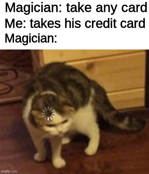that's how magiafia works |  Magician: take any card; Me: takes his credit card; Magician: | image tagged in blank white template,loading cat,funny,memes | made w/ Imgflip meme maker