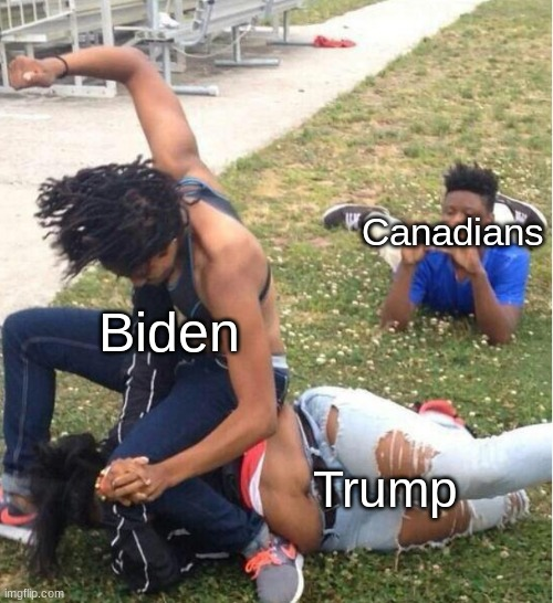 US elections be like... |  Canadians; Biden; Trump | image tagged in guy recording a fight | made w/ Imgflip meme maker