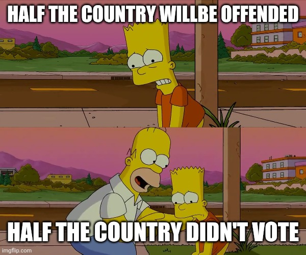 HALF THE COUNTRY WILLBE OFFENDED HALF THE COUNTRY DIDN'T VOTE | image tagged in worst day of my life | made w/ Imgflip meme maker